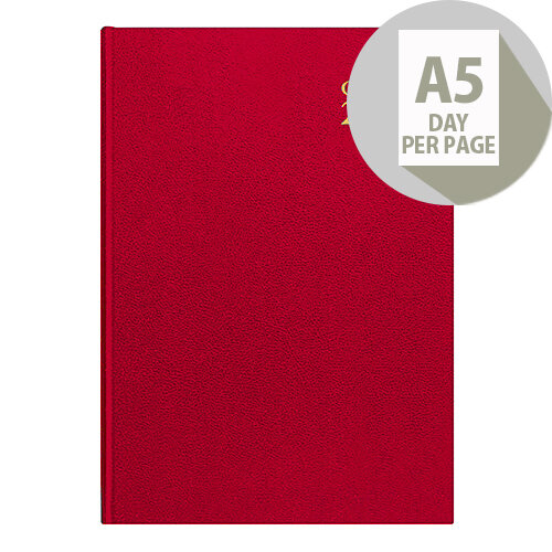 Collins A5 Desk Diary Day Per Page Red 2020 52