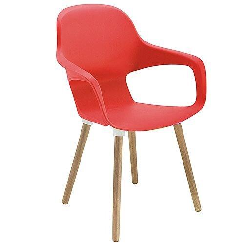 Ariel 2 Canteen &Breakout Wooden Leg Chair Red