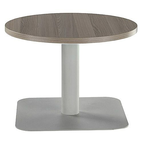 ONE Round 600mm Reception Coffee Table Dark Walnut With Silver Square Base