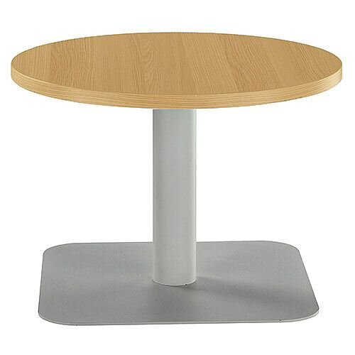 ONE Round 600mm Reception Coffee Table Oak With Silver Square Base