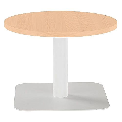 One Round 600mm Reception Coffee Table Beech With White Base