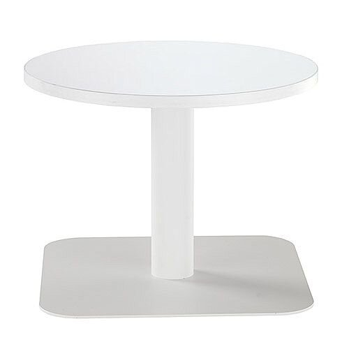 ONE Round 600mm Reception Coffee Table White With White Square Base