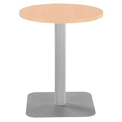 ONE Circular Cafe &Bistro Table Beech With Silver Square Base W600xD600xH725mm