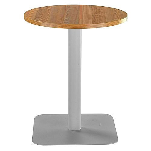 ONE Circular Cafe &Bistro Table Light Walnut With Silver Square Base W600xD600xH725mm