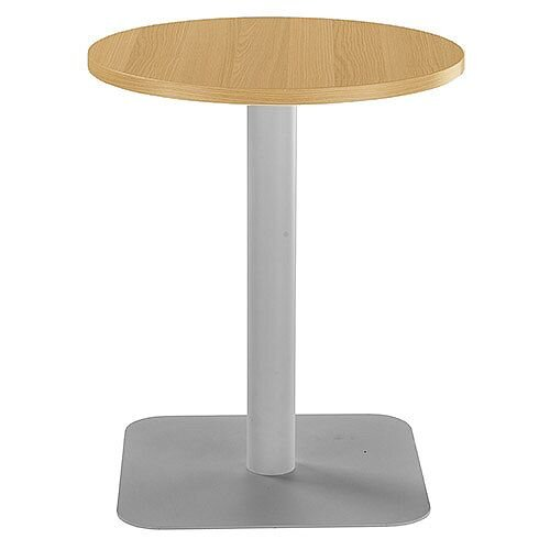 ONE Circular Cafe &Bistro Table Oak With Silver Square Base W600xD600xH725mm