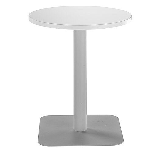 ONE Circular Cafe &Bistro Table White With Silver Square Base W600xD600xH725mm