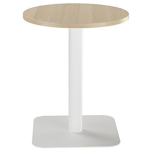 ONE Circular Cafe &Bistro Table Grey Oak With White Square Base W600xD600xH725mm