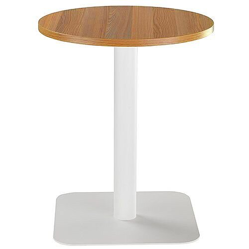 ONE Circular Cafe &Bistro Table Light Walnut With White Square Base W600xD600xH725mm