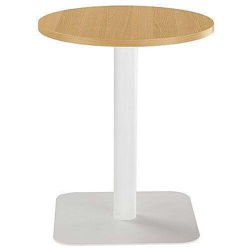 ONE Circular Cafe &Bistro Table Oak With White Square Base W600xD600xH725mm