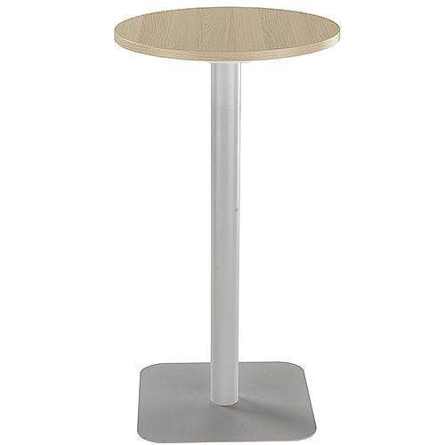 ONE Circular High Cafe &Bistro Table Grey Oak With Silver Square Base W600xD600xH1105mm