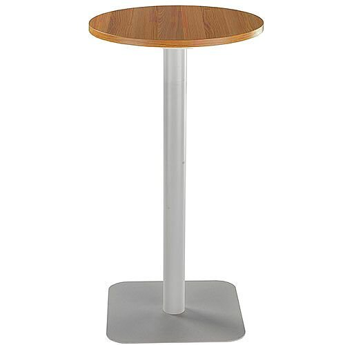 ONE Circular High Cafe &Bistro Table Light Walnut With Silver Square Base W600xD600xH1105mm