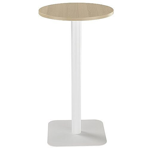 ONE Circular High Cafe &Bistro Table Grey Oak With White Square Base W600xD600xH1105mm