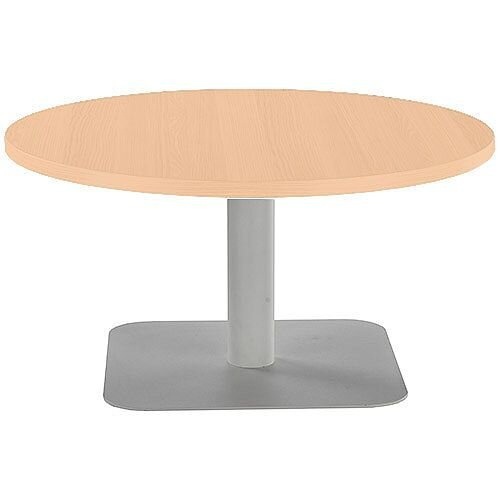 ONE Round 800mm Reception Coffee Table Beech With Silver Square Base