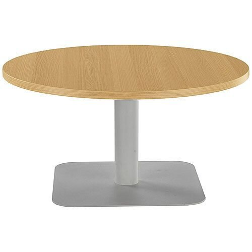 ONE Round 800mm Reception Coffee Table Oak With Silver Square Base