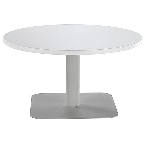 ONE Round 800mm Reception Coffee Table White With Silver Square Base