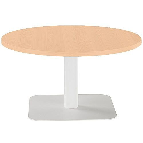 ONE Round 800mm Reception Coffee Table Beech With White Square Base