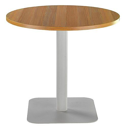 ONE Circular Cafe &Bistro Table Light Walnut With Silver Square Base W800xD800xH725mm