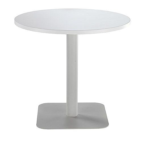 ONE Circular Cafe &Bistro Table White With Silver Square Base W800xD800xH725mm