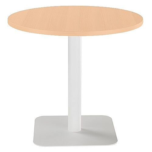 ONE Circular Cafe &Bistro Table Beech With White Square Base W800xD800xH725mm