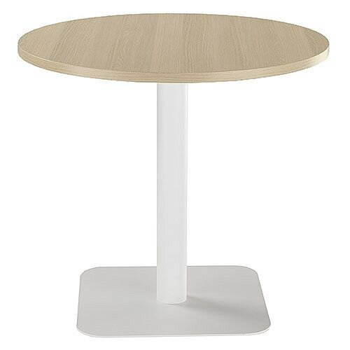 ONE Circular Cafe &Bistro Table Grey Oak With White Square Base W800xD800xH725mm