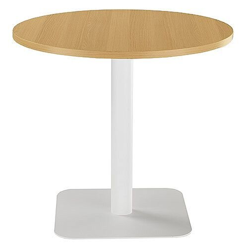 ONE Circular Cafe &Bistro Table Oak With White Square Base W800xD800xH725mm