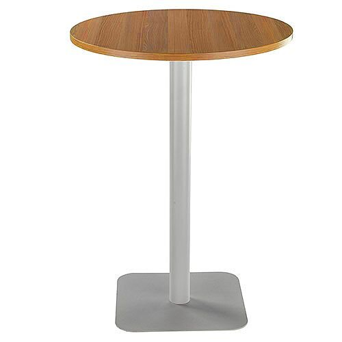 ONE Circular High Cafe &Bistro Table Light Walnut With Silver Square Base W800xD800xH1105mm