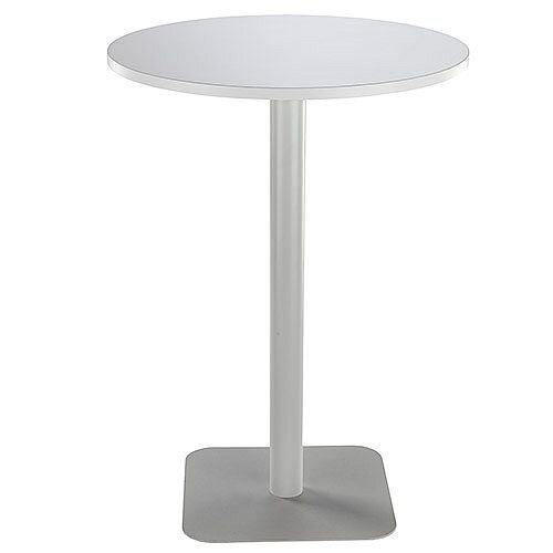ONE Circular High Cafe &Bistro Table White With Silver Square Base W800xD800xH1105mm