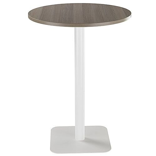 ONE Circular High Cafe &Bistro Table Dark Walnut With White Square Base W800xD800xH1105mm