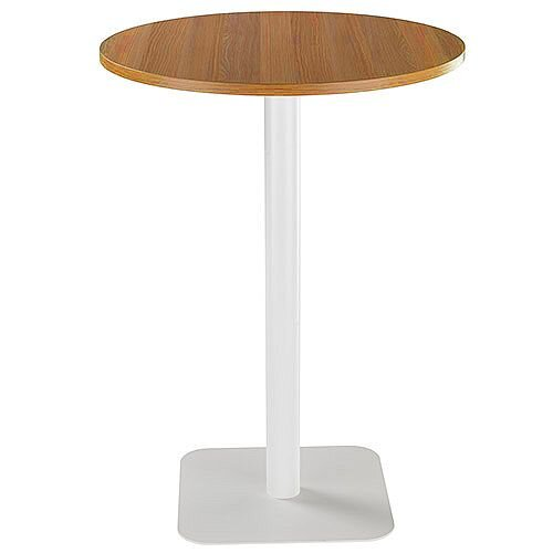 ONE Circular High Cafe &Bistro Table Light Walnut With White Square Base W800xD800xH1105mm