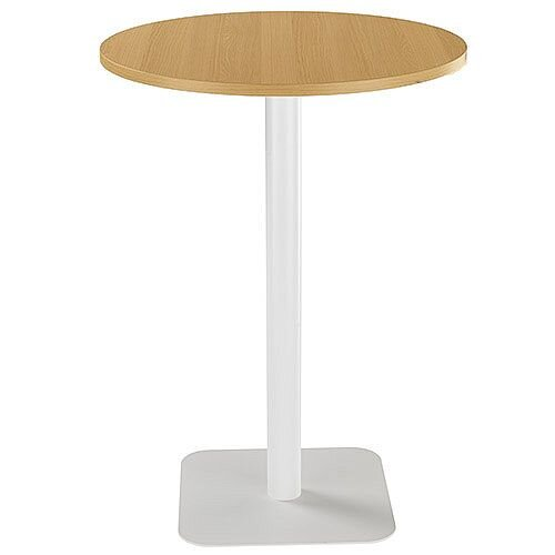 ONE Circular High Cafe &Bistro Table Oak With White Square Base W800xD800xH1105mm