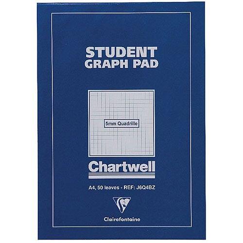 Chartwell Student A4 Graph Pad 5mm Quadrille 50 Sheets Blue Cover J6Q4B