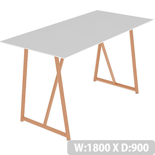Frovi RELIC Poseur Bench Table With Vintage Copper Frame W1800xD900xH1050mm