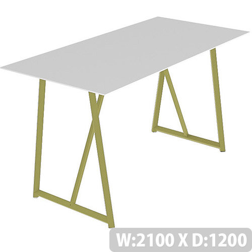 Frovi RELIC Poseur Bench Table With Vintage Brass Frame W2100xD1200xH1050mm