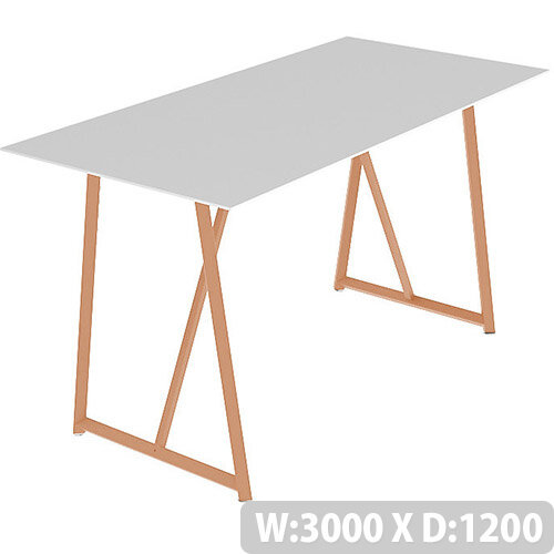 Frovi RELIC Poseur Bench Table With Vintage Copper Frame W3000xD1200xH1050mm