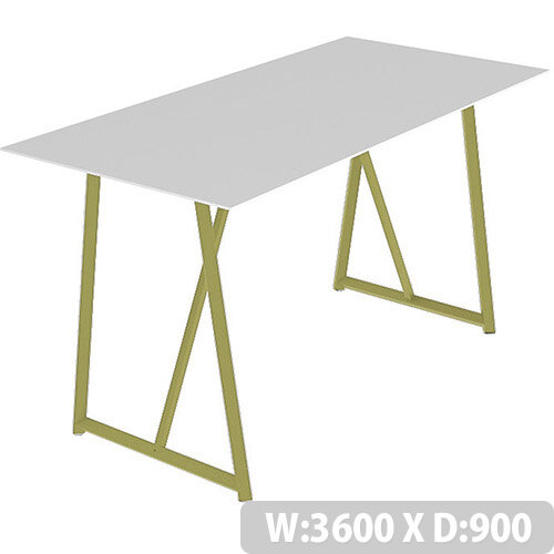 Frovi RELIC Poseur Bench Table With Vintage Brass Frame W3600xD900xH1050mm