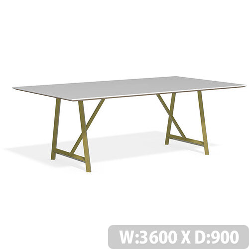 Frovi RELIC Bench Table With Vintage Brass Frame W3600xD900xH750mm