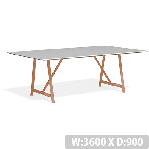 Frovi RELIC Bench Table With Vintage Copper Frame W3600xD900xH750mm