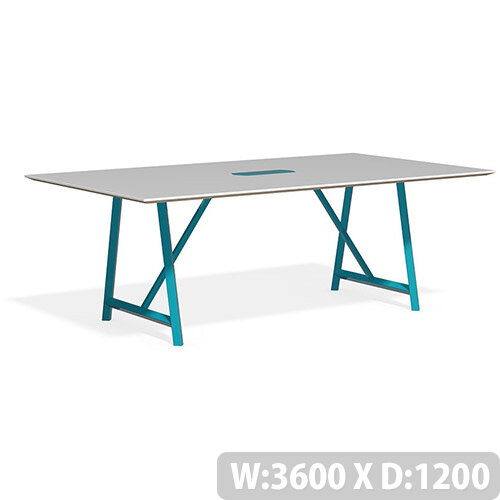 Frovi RELIC Bench Table With Power Module &Painted Steel Frame W3600xD1200xH750mm