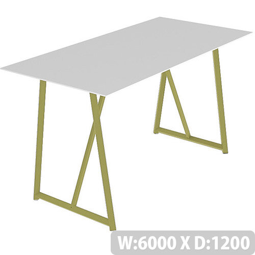Frovi RELIC Poseur Bench Table With Vintage Brass Frame W6000xD1200xH1050mm