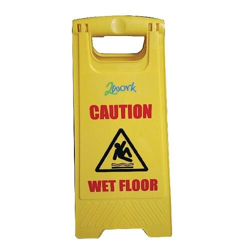 2Work Yellow Folding Safety Sign Caution Wet Floor and Cleaning In Progress 101423