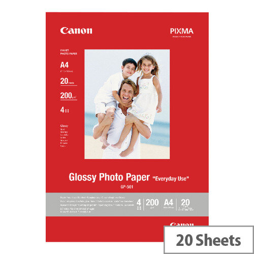 Canon A4 Glossy Photo Paper 200gsm Pack of 20 0775B082