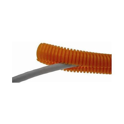 25mm SLIT Orange Plastic Flexible Conduit Cable Tidy Tube 50m