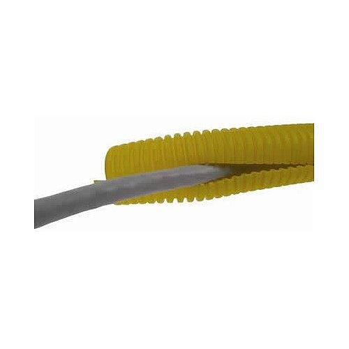 32mm SLIT Yellow Plastic Flexible Conduit Cable Tidy Tube 50m