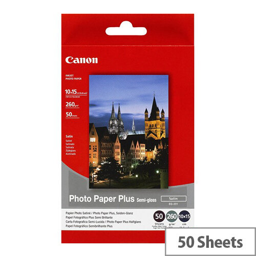 "Canon 6x4"" Semi-Gloss Plus Photo Paper (Pack of 50)"