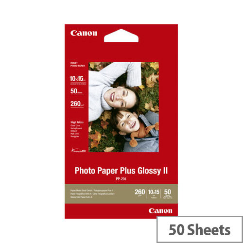 """Canon 6x4"""" Glossy Plus Photo Paper (Pack of 50)"""