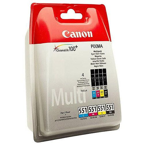 Canon CLI-551 Cyan/Magenta/Yellow/Black Inkjet Cartridges Multi Pack 6509B009
