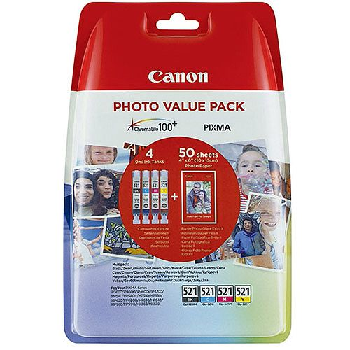 Canon CLI-521C/M/Y/K Ink Cartridge Photo Value Pack 2933B010