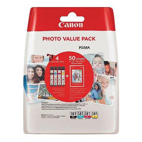 Canon CLI-581 Black/Cyan/Magenta/Yellow Photo Value Pack 2106C005