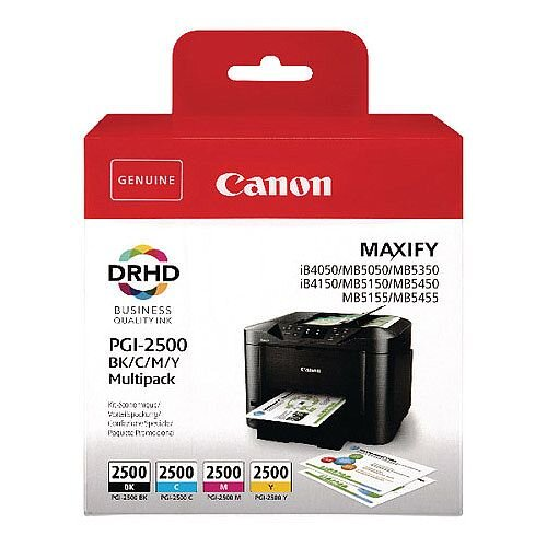 Canon PGI-2500 BCMY Ink Cartridge Multi Value Pack of 4 9290B004