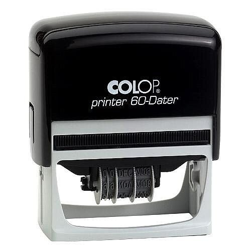 COLOP Printer 60 Rectangular Custom Dater Pre-Inked Rubber Stamp Black Ink Black Handle